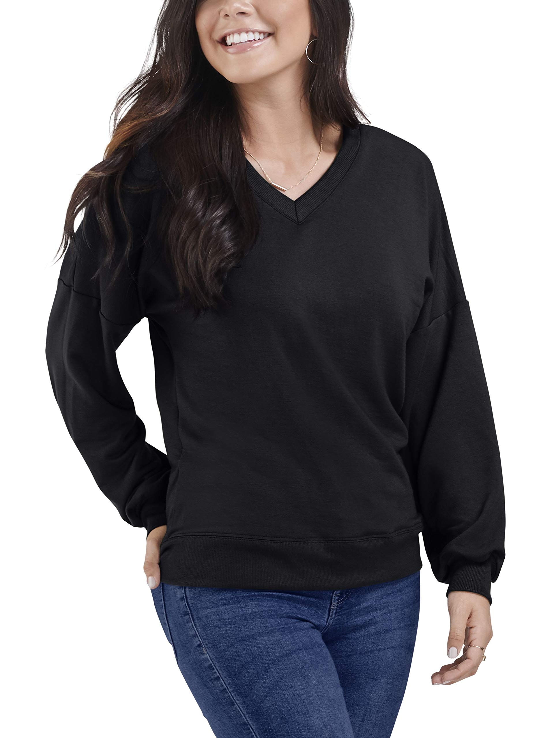Seek No Further by Fruit of the Loom Women's Brushed Fleece Long Sleeve V Neck Blouse