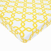 American Baby Company 100% Natural Cotton Percale Fitted Portable/Mini Crib Sheet, Golden Yellow Twill Gotcha, Soft Breathable, for Boys and Girls