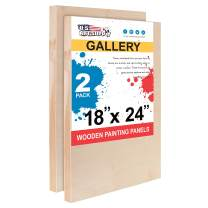 """U.S. Art Supply 18"""" x 24"""" Birch Wood Paint Pouring Panel Boards, Gallery 1-1/2"""" Deep Cradle (Pack of 2) - Artist Depth Wooden Wall Canvases - Painting Mixed-Media Craft, Acrylic, Oil, Encaustic"""