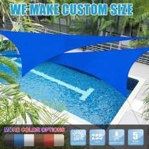 Amgo Custom Size 4' x 4' x 4' Blue Triangle Sun Shade Sail ATAPT16 Canopy Awning, 95% UV Blockage, Water & Air Permeable, Commercial and Residential (Custom