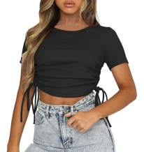 Women's Cute Crop Tops Long Sleeve Drawstring Ruched Bodycon T-Shirts Slim Top