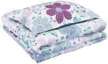 AmazonBasics Kid's Comforter Set - Soft, Easy-Wash Microfiber - Twin, Purple Flowers
