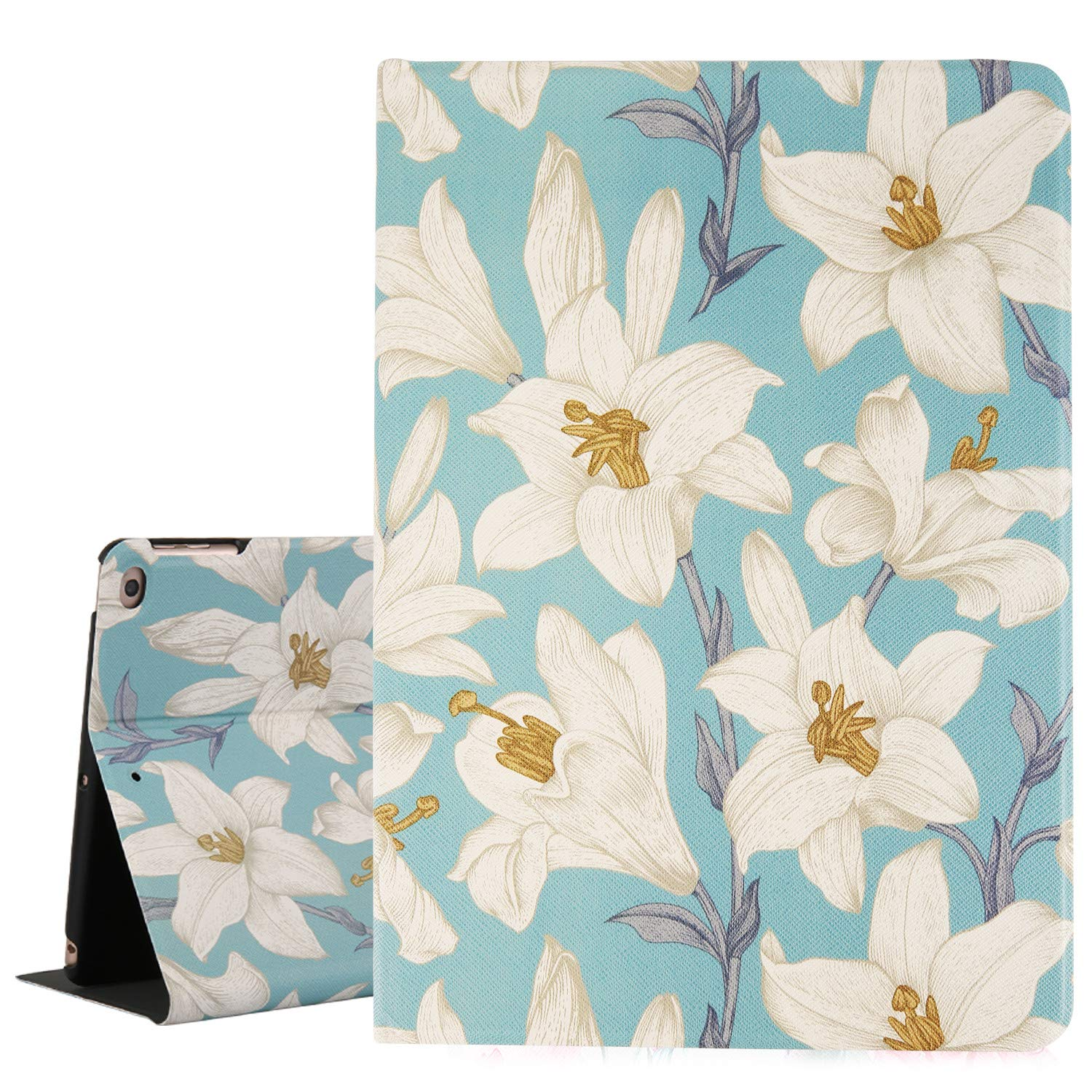 Hi Space Lily Flower iPad 9.7 Case,White Floral Light Blue Folio Stand Smart Tablet Case Cover for iPad Air 1/2 5th/6th Gen 2017/2018 Auto Sleep Wakeup