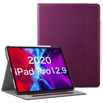 "CaseBot Case for iPad Pro 12.9"" 4th & 3rd Generation 2020/2018 with Pencil Holder, Multi-Angle Folio Smart Stand Cover w/Pocket & Auto Sleep/Wake, Support Pencil 2nd Gen Charging (Purple)"