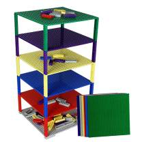 """Upgraded Stackable Baseplate Set for Building Bricks including 12 Baseplate in Size 10""""x10"""" & 100 Stackers, Compatible with All Major Brands, Thick & Sturdy, Ideal surface for construction & display"""