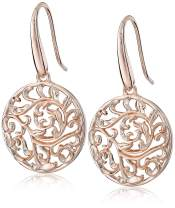 Plated 925 Sterling Silver Filigree Disc Dangle Earrings