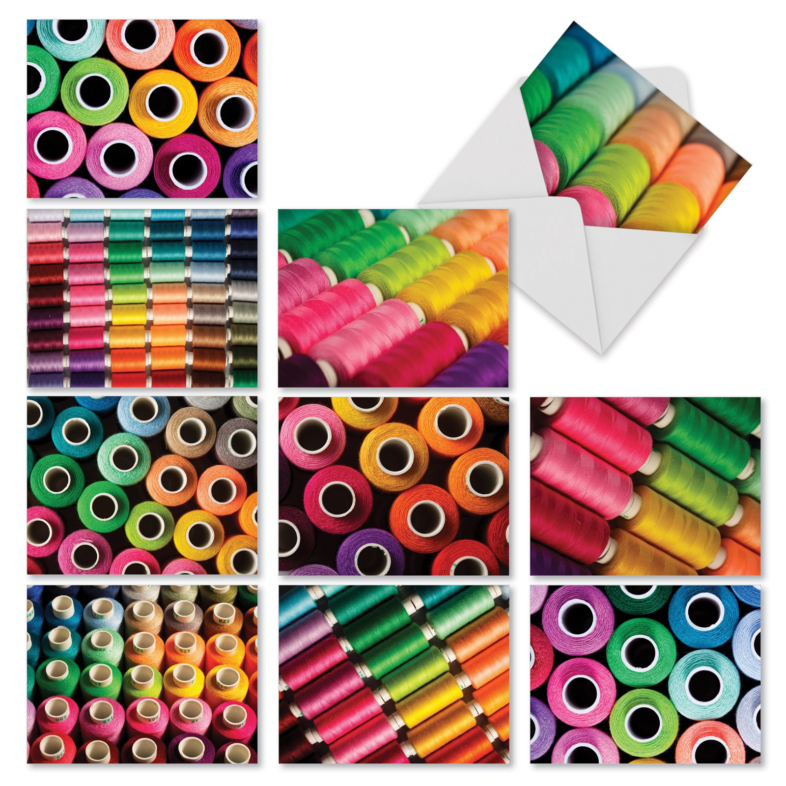 10 Assorted 'Spool Me Once' Greeting Cards Featuring Brightly Colored Thread - All Occasion Note Cards w/Envelopes, Blank Stationery for Baby Showers, Business, Thank You 4 x 5.12 inch M3094
