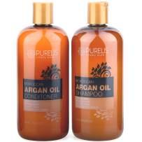 Purelis Argan Oil Shampoo and Conditioner Set, Extra Strength Formula with Keratin & Dead Sea Minerals. Restores Shine, Moisturizes Dry & Damaged Hair, Enhances All Hair Types HUGE 16.9 oz. Each.