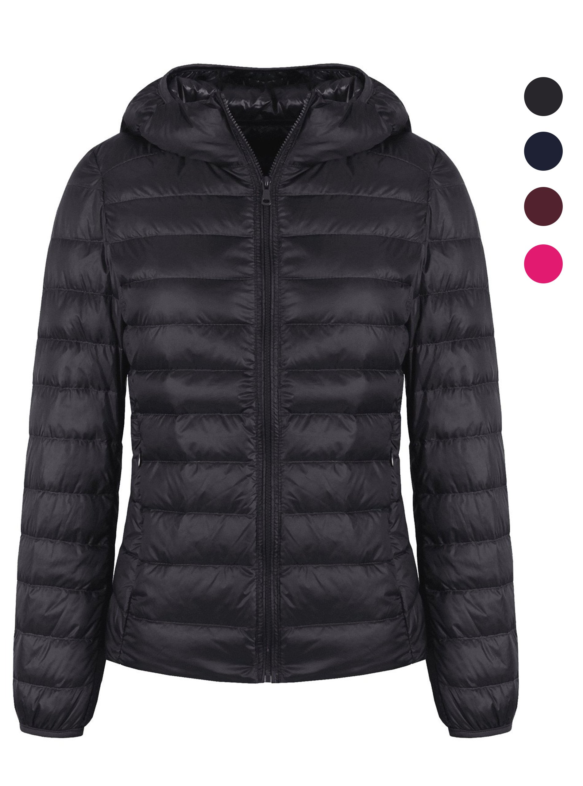 ZITY Down Jacket For Women,Hooded Puffer Water Repellent Down Jacket Black, US S=Label XL