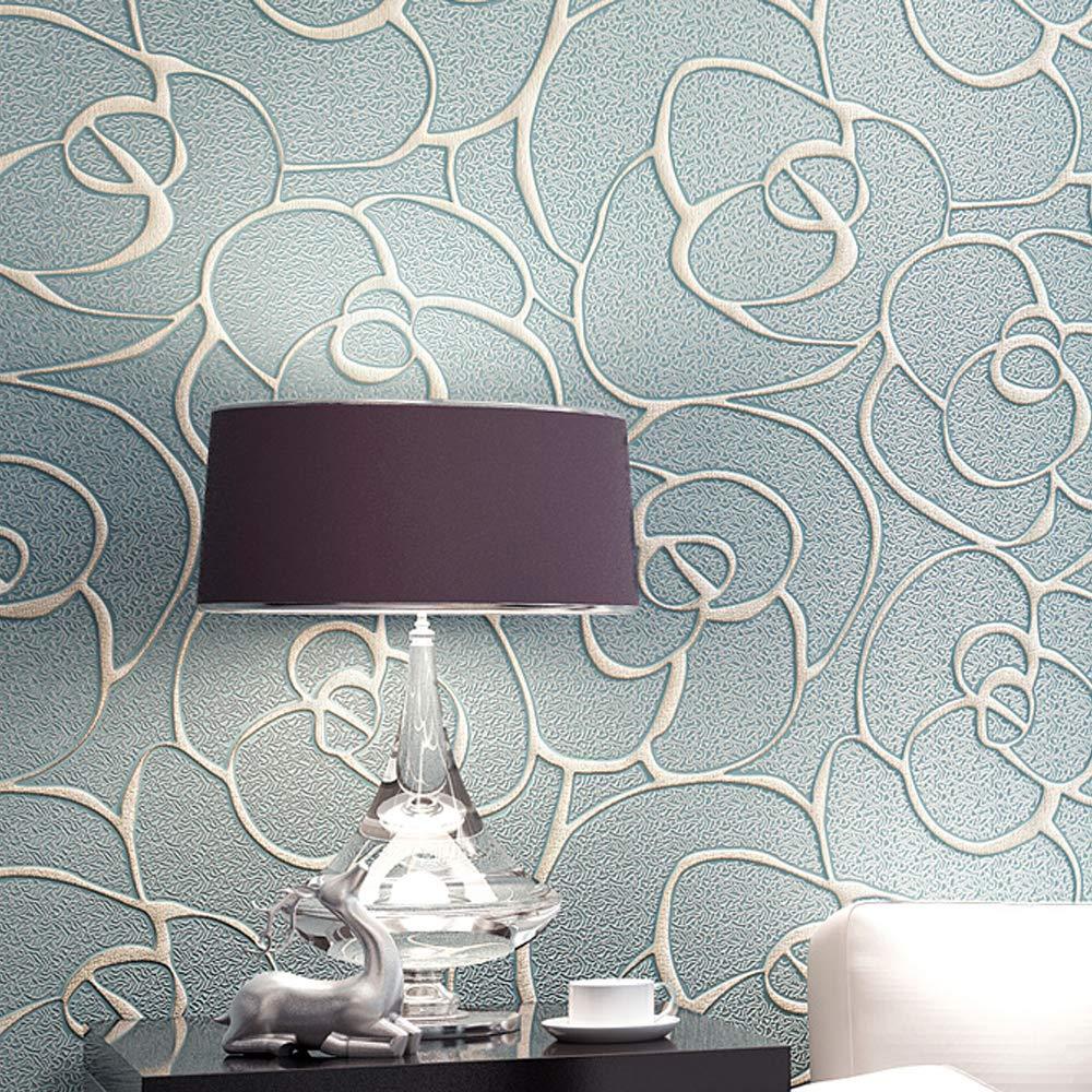 QIHANG Modern Minimalist Embossed 3D Rose Flower Non-Woven Wallpaper Light Blue Color 0.53m x 10m=5.3㎡