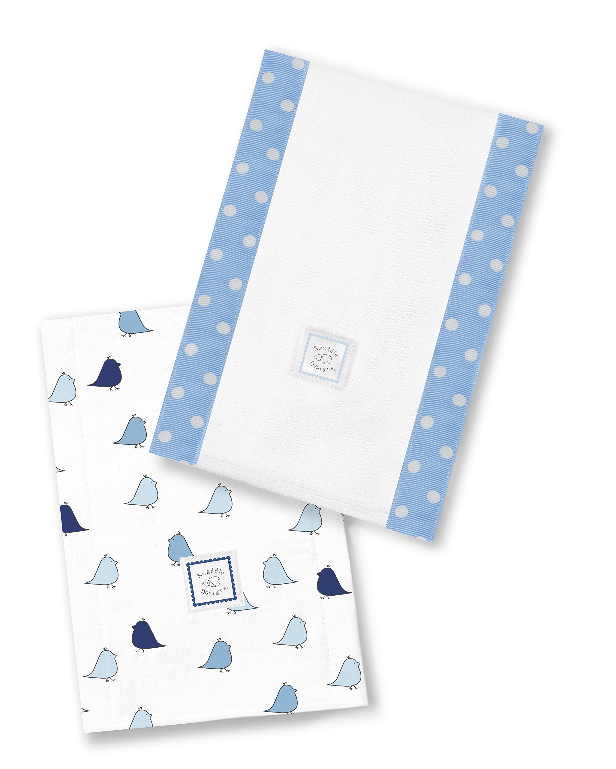SwaddleDesigns Baby Burpies, Set of 2 Cotton Burp Cloths, Blue Little Chickies