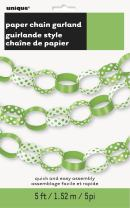 5ft Lime Green Polka Dot Paper Chain Decoration