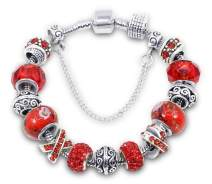 Savlano Silver Tone Charm Bracelet with Crystal and Murano Glass Beads Snake Chain for Women & Girls