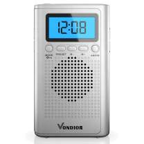 AM FM Portable Digital Radio- Best Reception and Longest Lasting. AM FM Digital Pocket Player Operated by 2 AAA Battery, Stereo Headphone Pocket (Silver, Blue), by Vondior