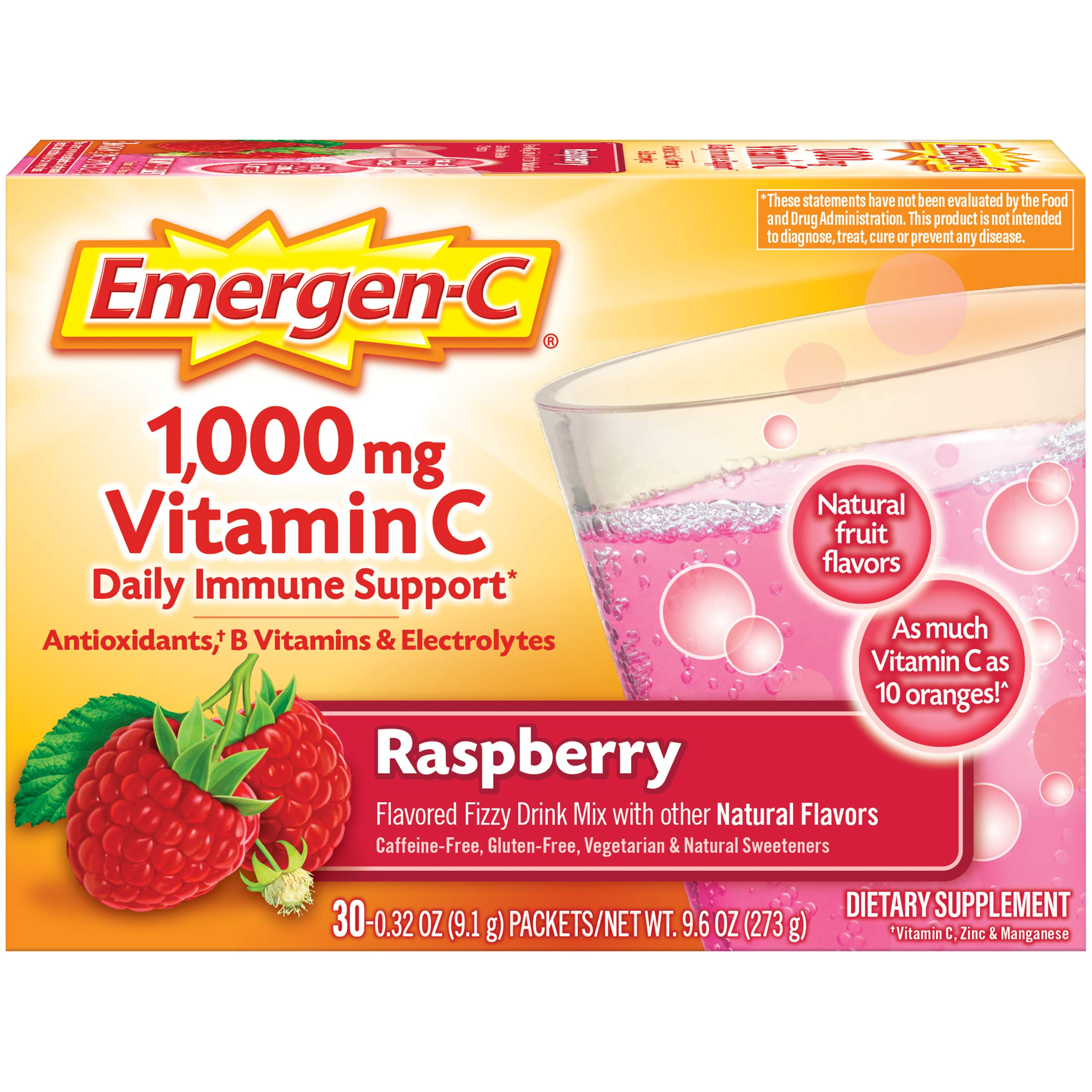 Emergen-C 1000mg Vitamin C Powder, with Antioxidants, B Vitamins and Electrolytes, Immunity Supplements for Immune Support, Caffeine Free Fizzy Drink Mix, Raspberry Flavor - 30 Count/1 Month Supply