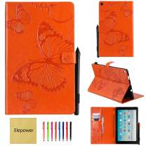 All-New Fire HD 10 Tablet(7th Generation/9th Generation, 2017/2019 Release), Elepower Butterfly Embossed Folio Folding Stand Cover with Card Stylus Holder for Kindle 10.1 Inch Tablet, Orange