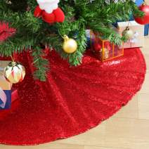 SoarDream 48inch Tree Skirts Red Christmas Tree Skirts Sequin Cute Floor Mat Carpet for Xmas Decor Home Decor Skirt