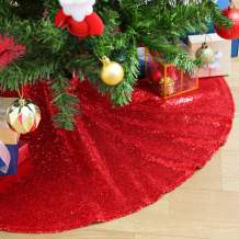 SoarDream 48inch Tree Skirts Red Christmas Tree Skirts Sequin Cute Floor Mat Carpet for Xmas Decor Home Decor Skirt