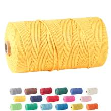 Macrame Cord, ZOUTOG 2mm x 328 yd (About 300m) 100% Natural Cotton Soft Unstained Rope for Handmade Plant Hanger Wall Hanging Craft Making, Golden Yellow