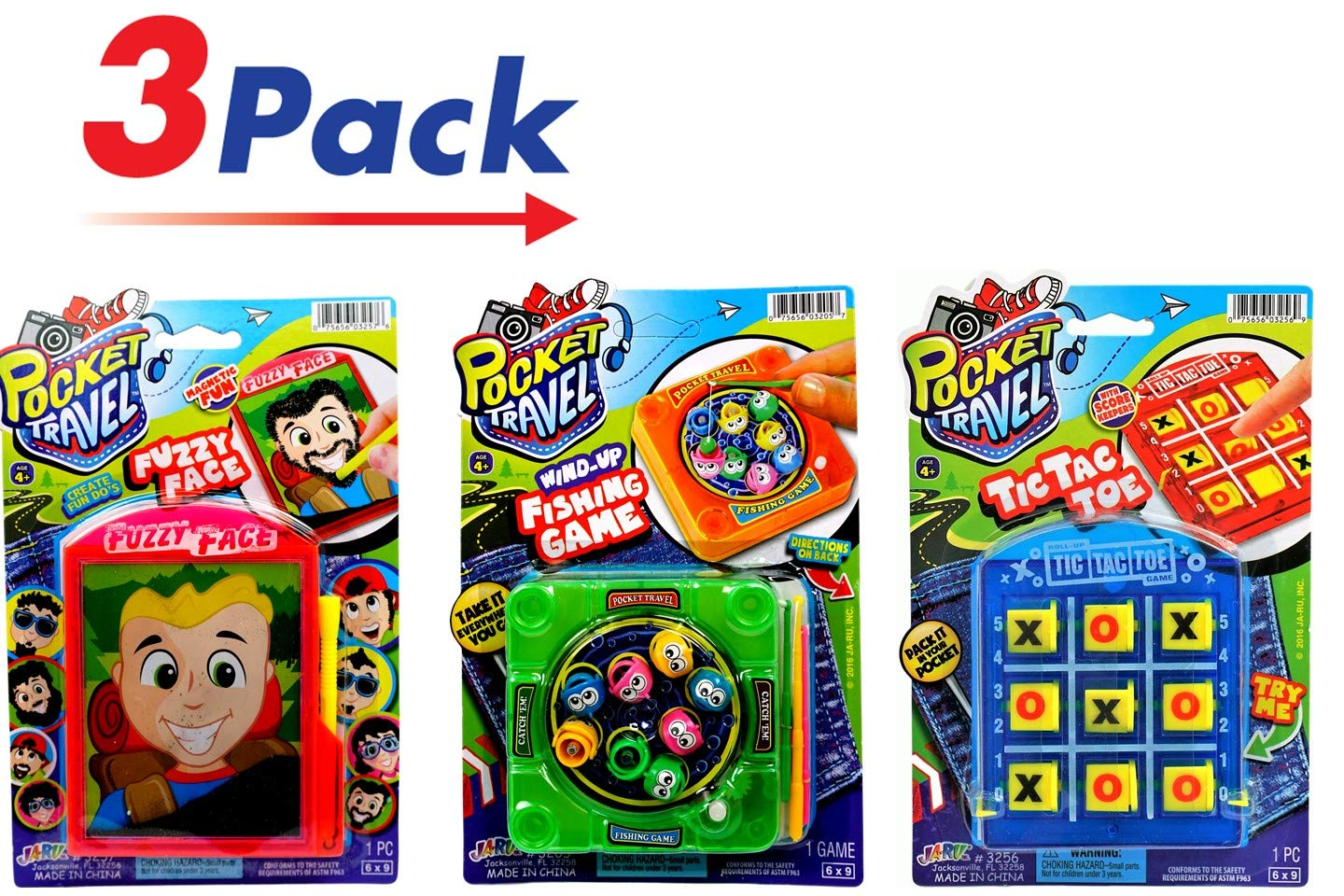 JA-RU Pocket Games Kid Travel Toys Bundle Set (3 Games) Magnetic Fizzy Face, Tic Tac Toe & Magnetic Fishing. Fidget Toys, Party Favors ADD ADHD, Stress Toys, Anxiety Toys. # E3