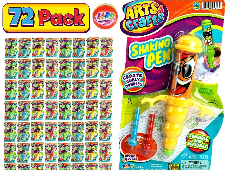 JA-RU Gyro Shaking Pen (Bulk Pack of 72 Pens) and 1 Bouncy Ball Bundle Vibrating Fun. Assorted Styles| Item #1316-72p