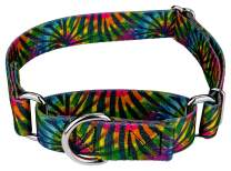 Country Brook Petz - Tie Dye Stripes Martingale Dog Collar - Groovy Collection with 5 Far Out Designs (1 Inch, Large)
