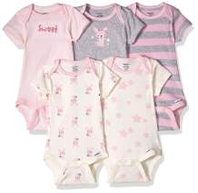 GERBER Baby Girls' 5-Pack Organic Short-Sleeve Onesies Bodysuit
