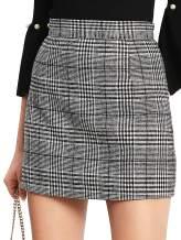 Floerns Women's Plaid High Waist Bodycon Mini Skirt