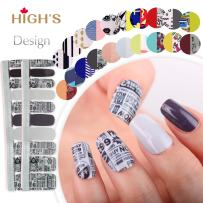 HIGH'S EXTRE Adhesion 20pcs Nail Art Transfer Decals Sticker Design Series The Cocktail Collection Manicure DIY Nail Polish Strips Wraps for Wedding,Party,Shopping,Travelling (Black Friday)