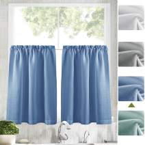"""Zceconce Linen Look Tier Blue Semi Sheer Curtains24 Inches Long for Kitchen Hotel Dining Room Total Size 72 Inch Wide (36""""×24"""", Blue, Set of Two)"""