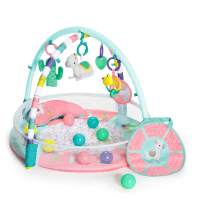Bright Starts 4-in-1 Rounds of Fun Activity Gym & Ball Pit, Newborn +, Pink