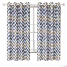 BGment Printed Blackout Curtains for Bedroom with Multicoloured Wave Patterns - Grommet Thermal Insulated Room Darkening Curtains for Living Room, Set of 2 Panels (52 x 63 Inch, Brown)