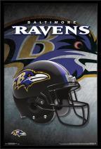 "Trends International NFL Baltimore Ravens - Helmet, 22.375"" x 34"", Black Framed Version"