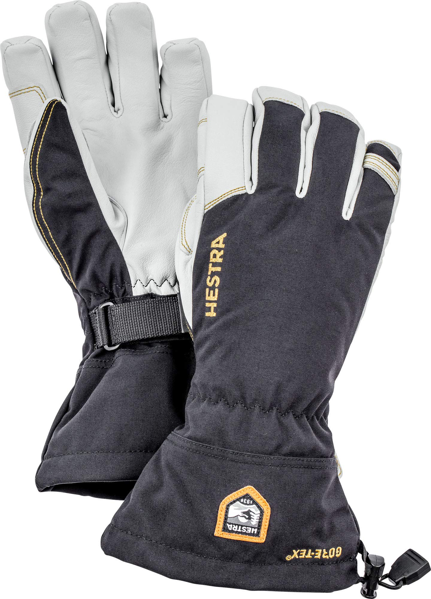 Hestra Army Leather Gore-TEX - Waterproof, Long-Cuffed 5-Finger Snow Glove for Skiing and Mountaineering
