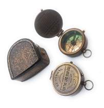 Brass Compass Engraved Pocket Compasses in Leather Case Gift (Be Strong & Courageous)