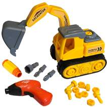 Excavator Toy with Kids Tool Set - Take Apart Construction Toys - Toy Excavator for 3 4 5 6 Year Old Boys & Girls - Fun Take Apart Toys - Improve Fine Motor Skills, Critical Thinking & Confidence