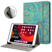 Fintie Folio Case for New iPad 7th Generation 10.2 Inch 2019 with Built-in Pencil Holder - Multi-Angle Viewing Soft TPU Protective Smart Stand Back Cover with Pocket, Auto Wake/Sleep, Shades of Blue