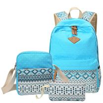 Aiduy School Backpack Canvas Bookbag with Shoulder Bag and Pencil Case for Girls