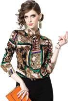 Women's Baroque Print Shirt Regular Fit Long Sleeve Button up Casual Blouse Top