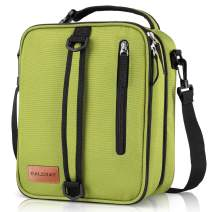 BALORAY Expandable Insulated Lunch Bag, Leakproof Flat Lunch Cooler Tote with Shoulder Strap for Men and Women Adult Lunch Pail (Green)