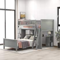 Twin-Over-Twin Bunk Bed with Storage Drawers and Stairs for Kids, Baysitone Loft System Twin Over Twin Bunk Bed Wood with Ladder (Gray)