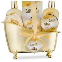 Spa Gift Basket with Sensual Rose & Jasmine Fragrance - Best Christmas, Anniversary, Birthday Gift for Women - Spa Gift Set Includes Shower Gel, Bubble Bath, Bath Fizzer, Body Scrub, and Bath Salt