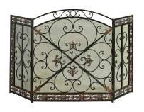 Benzara Traditional Design 3- Panel Metal Fire Screen, Bronze