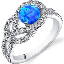 Created Blue Opal Love Knot Ring Sterling Silver Sizes 5 to 9