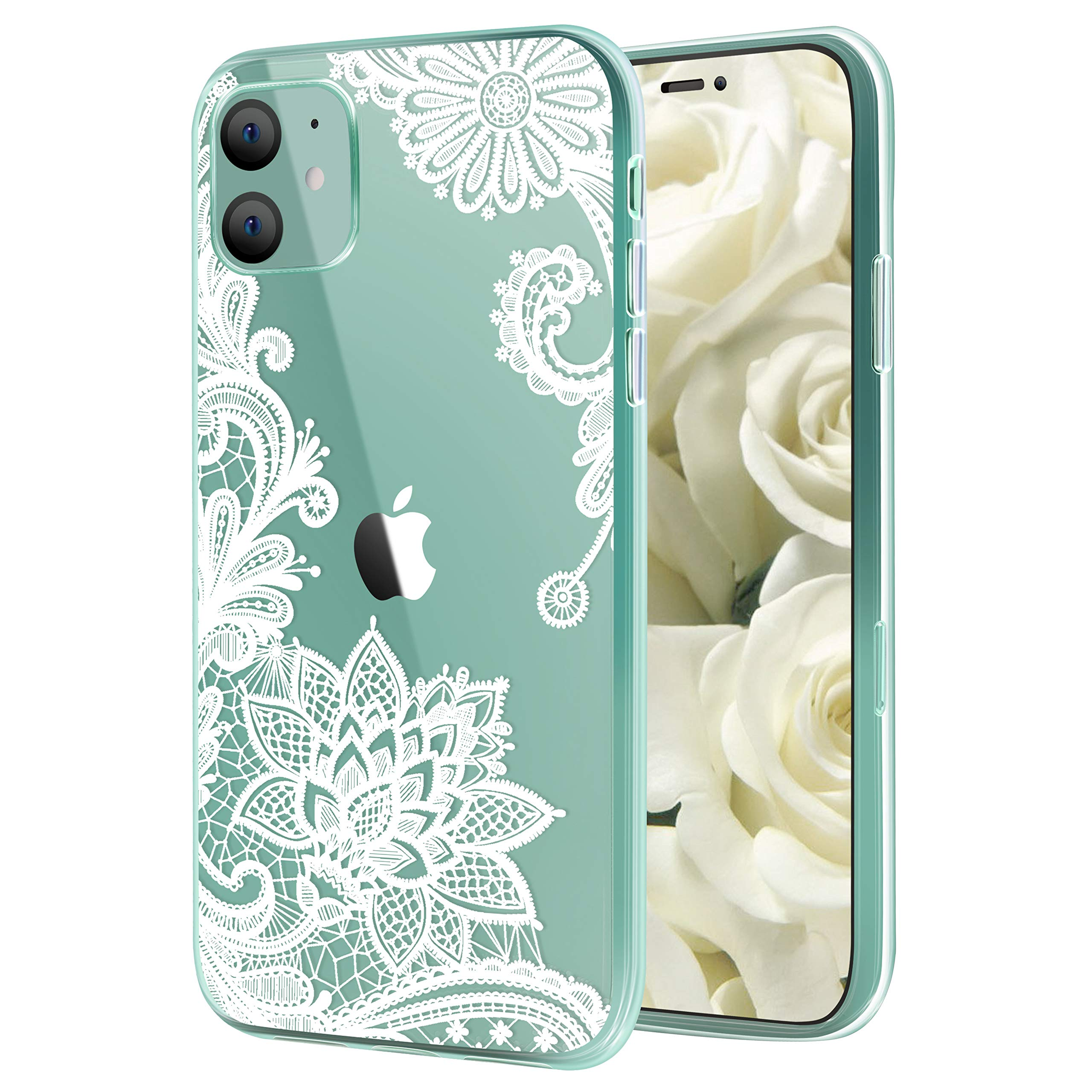 Savourio iPhone 11 Case, HD Clear Ultra Slim Fit Soft TPU Protective Clear Case Shock-Absorption Anti-Scratch Compatible Cover Cases for iPhone 11 5.9 inch [2019] [Lace White]