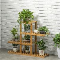 Magshion Wooden Flower Stands Plant Display Rack Choose 3 4 5 6 Shelf (4 Shelf)