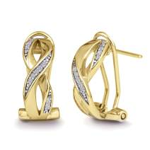 Devin Rose Sterling Silver 1/10 Cttw Diamond X Hoop Earrings for Women (IJ Color I2-I3 Clarity)