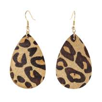Leopard Earrings Cheetah Earrings Genuine Leather Earrings Dangle Earrings,Lightweight, Teardrop, Dangle, Handmade Trendy Drop Earrings for Women