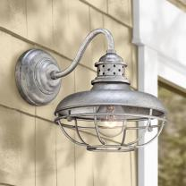 """Franklin Park Rustic Farmhouse Outdoor Barn Light Fixture Galvanized Steel Open Cage 13"""" White Glass Orb Diffuser Damp Rated for Exterior House Porch Patio Deck - Franklin Iron Works"""