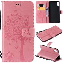 iPhone Xs Max Case,iPhone Xs Max Wallet Case,iPhone Xs Max PU Leather Protective Case Emboss Cat and Tree Folio Magnetic with Card Holder Kickstand and Flip Case for iPhone Xs Max 6.5 Inch Pink